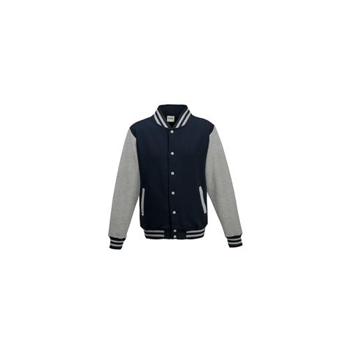 Just Hoods Kids Varsity Jacket Oxford Navy/Heather Grey