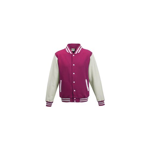 Just Hoods Kids Varsity Jacket Hot Pink/White