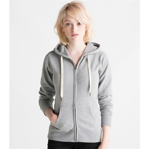 Mantis W's Superstar Zip Through Hoodie Charcoal Grey Melange