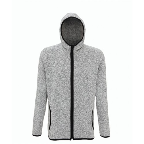Tri Dri Men's melange knit fleece jacket Heather Grey/Black