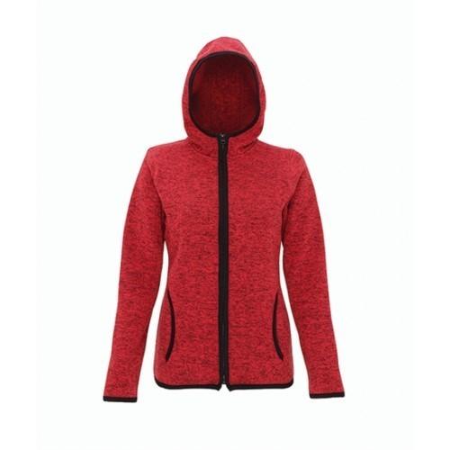 Tri Dri Women's melange knit fleece jacket Red/Black
