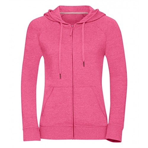 Russell Ladies HD Zipped Hood Sweat Pink Marl