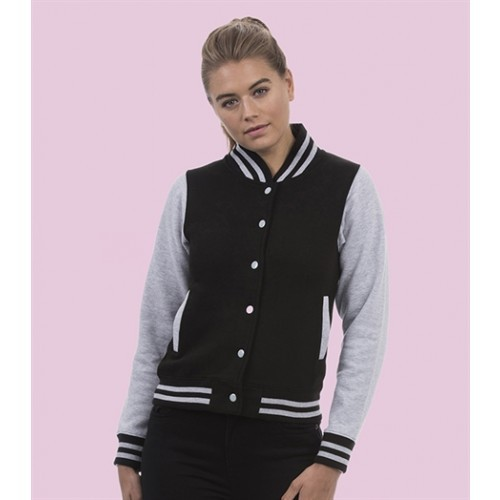 Just hoods Girlie Varsity Jacket Jet Black/Heather Grey