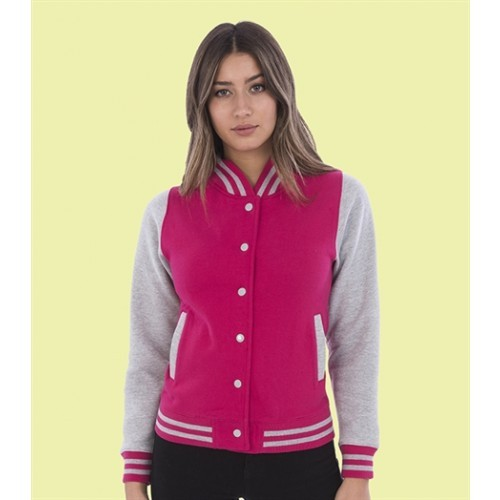 Just hoods Girlie Varsity Jacket Hot Pink/Heather Grey