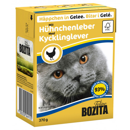 BOZITA FELINE Bitar i Gelé med Kycklinglever (16-pack)