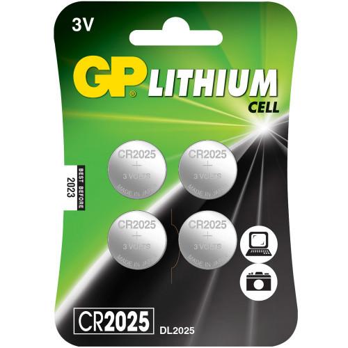 GP CR2025 3V Knappcell 4-pack