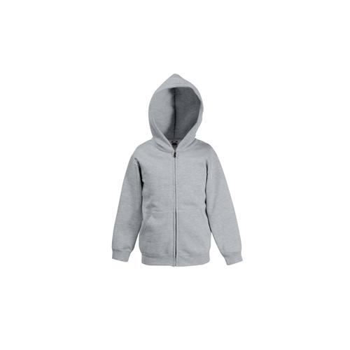 Fruit of the loom Kids Premium Hooded Sweat Jacket Heather Grey