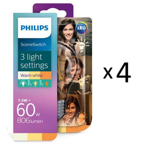 Philips LED SceneSwitch Filam. E27 4st