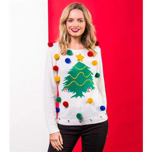 christmas shop Women's Christmas tree jumper White