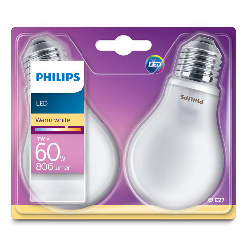Philips 2-pack LED E27 Std Frost 60W