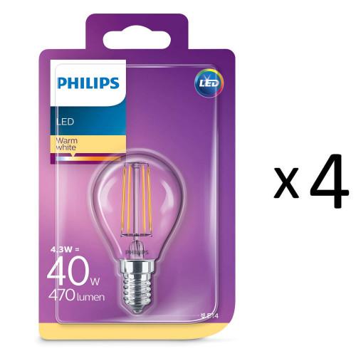 Philips LED Filament E14 40W Klot 4st