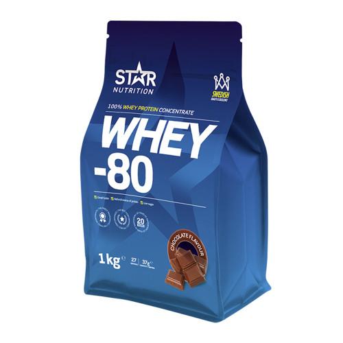 Star Nutrition Whey-80, 1 kg, Choklad