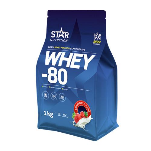 Star Nutrition Whey-80, 1 kg, Jordgubb