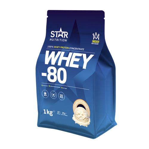 Star Nutrition Whey-80, 1 kg, Vanilj