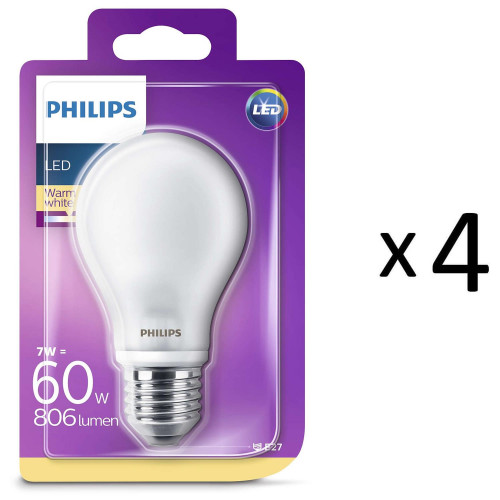 Philips LED E27 Std 60W Frost 806 4st