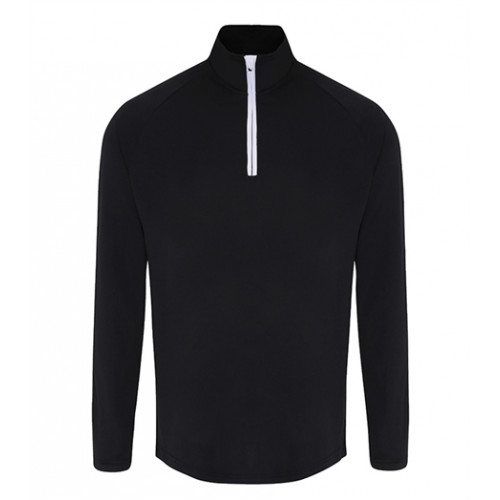 Tri Dri Mens TriDri® long Sleeve Performance 1/4 Zip Black/White