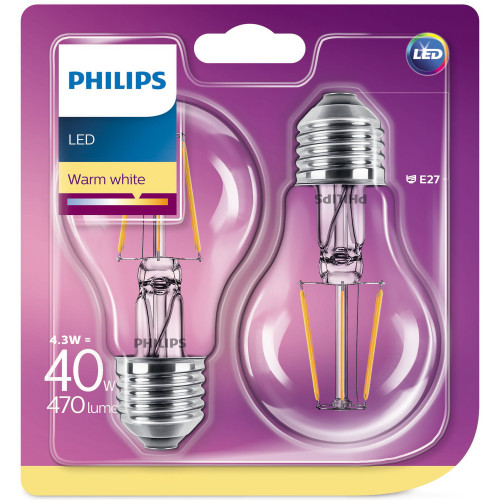 Philips 2-pack LED E27 Std Frost 40W
