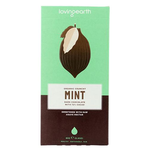 Loving Earth Crunchy Mint Dark Chocolate 80g EKO