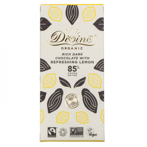 Divine Chocolate Divine Mörk Choklad 85%  Citron 80g EKO