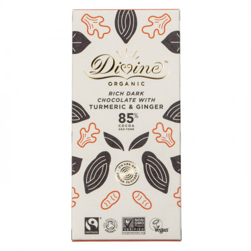 Divine Chocolate Divine Mörk Choklad 85%  Ingefära & Gurkmeja 80g EKO