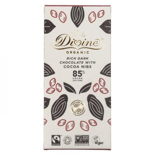 Divine Chocolate Divine Mörk Choklad 85%   Kakaonibs 80g EKO