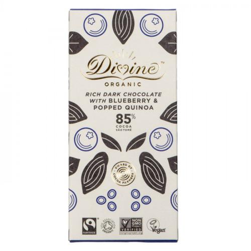 Divine Chocolate Divine Mörk Choklad 85%   Blåbär & Quinoa 80g EKO