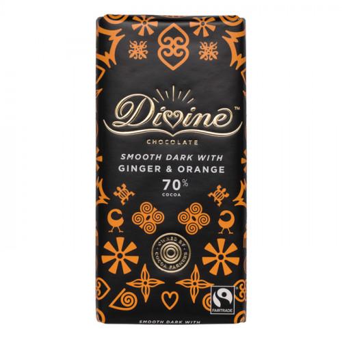 Divine Chocolate Divine Mörk Choklad 70% Ingefära & Apelsin 90g