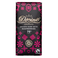 Divine Chocolate Divine Mörk Choklad 70% Hallon 90g