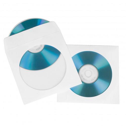 HAMA CD/DVD-ficka Papper Vit 100-pack