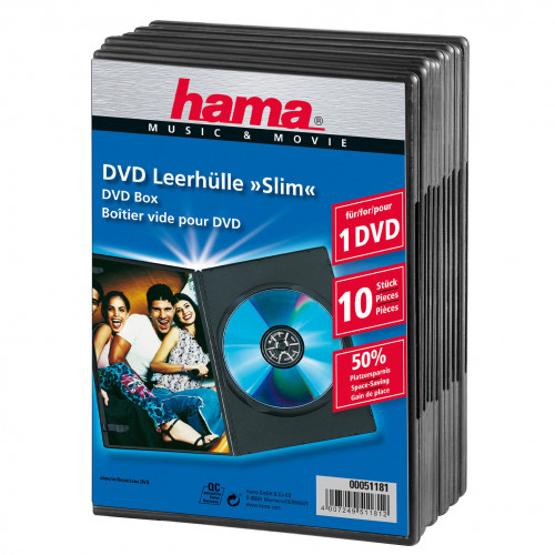 HAMA DVD-Box Slim Svart  10-pack