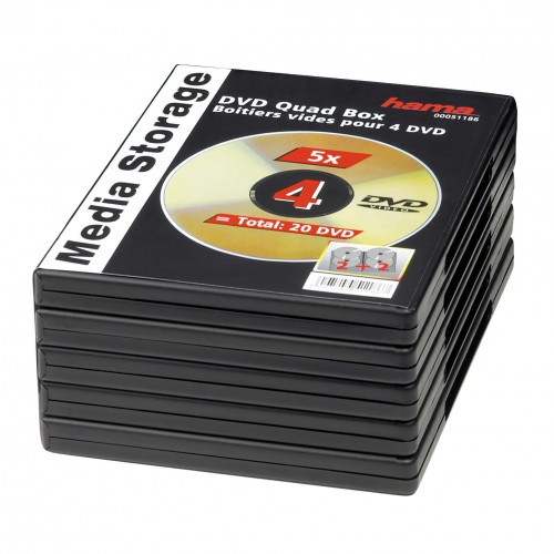 HAMA DVD-Box f 4 st Skivor  5-pack