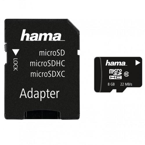 HAMA Minneskort MicroSDHC 8GB Class 10 22MB/s Adapter