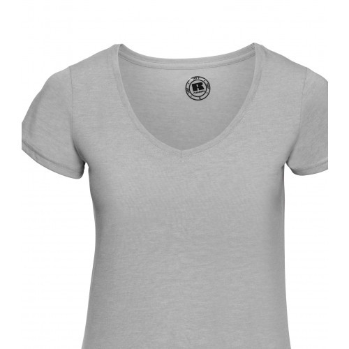 Russell Ladies´ V-Neck HD Tee Silver Marl
