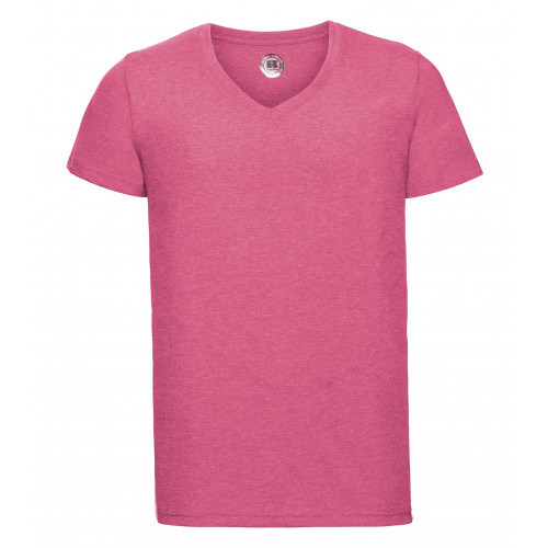 Russell Men´s V-Neck HD Tee Pink Marl