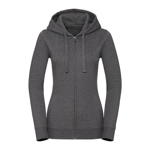 Russell Ladies Authentic Melange Zipped Hood Sweat Carbon Melange