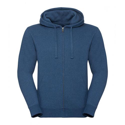 Russell Men´s Authentic Melange Zipped Hood Sweat Ocean Melange