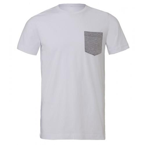 Bella Canvas Men´s Jersey Short Sleeve pocket Tee White/Athletic Heather