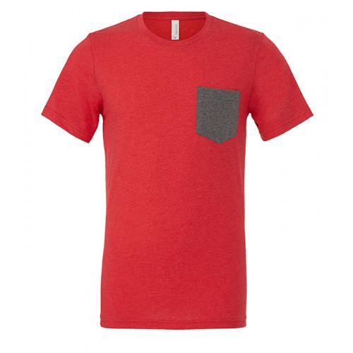 Bella Canvas Men´s Jersey Short Sleeve pocket Tee Heather Red/Deep Heather