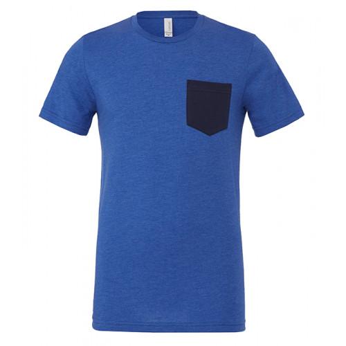 Bella Canvas Men´s Jersey Short Sleeve pocket Tee Heather True Royal/Navy