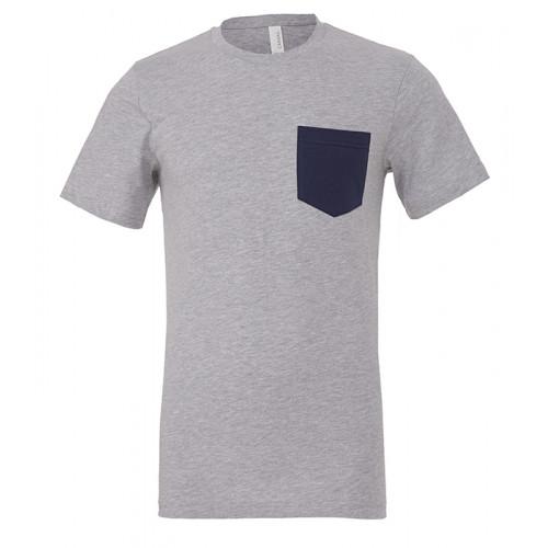 Bella Canvas Men´s Jersey Short Sleeve pocket Tee Athletic Heather/Navy