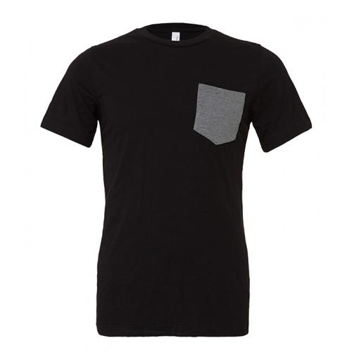 Bella Canvas Men´s Jersey Short Sleeve pocket Tee Black/Deep Heather
