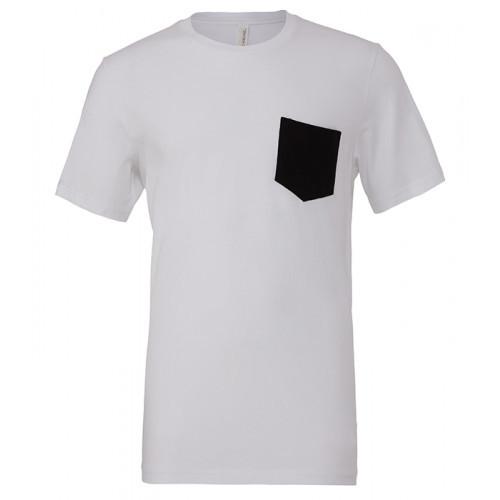 Bella Canvas Men´s Jersey Short Sleeve pocket Tee White/Black