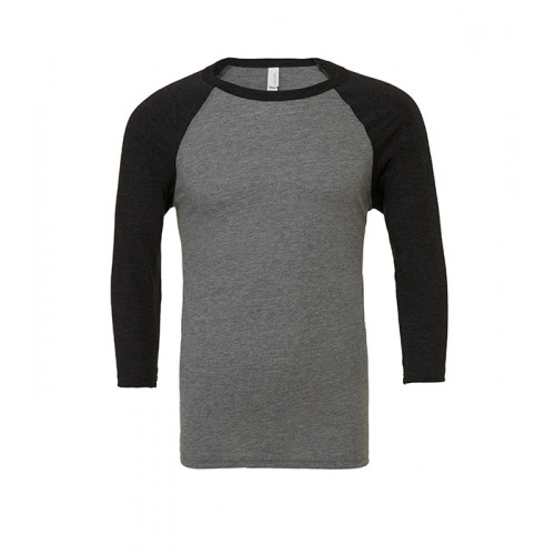 Bella Canvas Unisex 3/4 Sleeve Baseball Tee Deep Heather/Black