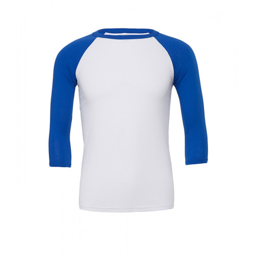 Bella Canvas Unisex 3/4 Sleeve Baseball Tee White/True Royal