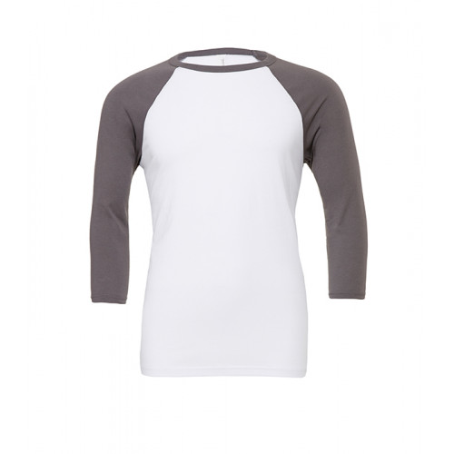 Bella Canvas Unisex 3/4 Sleeve Baseball Tee White/Asphalt