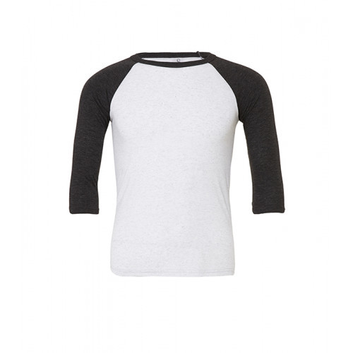 Bella Canvas Unisex 3/4 Sleeve Baseball Tee White Fleck/Charcoal-Black Triblend
