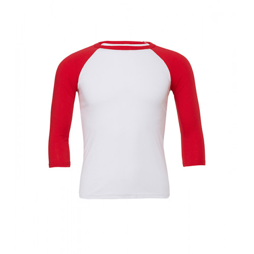 Bella Canvas Unisex 3/4 Sleeve Baseball Tee White/Red