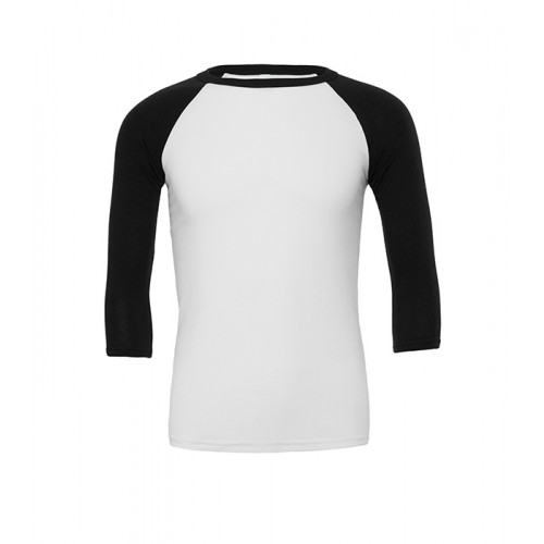 Bella Canvas Unisex 3/4 Sleeve Baseball Tee White/Dark Grey