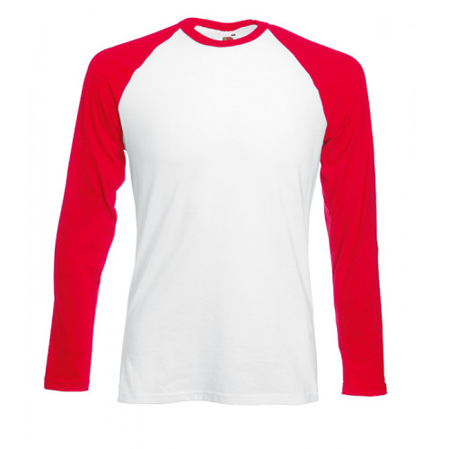 Fruit of the loom Long Sleeve Baseball White/Red