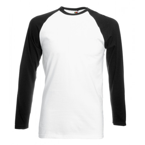 Fruit of the loom Long Sleeve Baseball White/Black